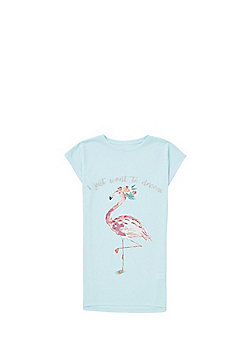 F&F Flamingo Glitter Slogan Nightie - Blue