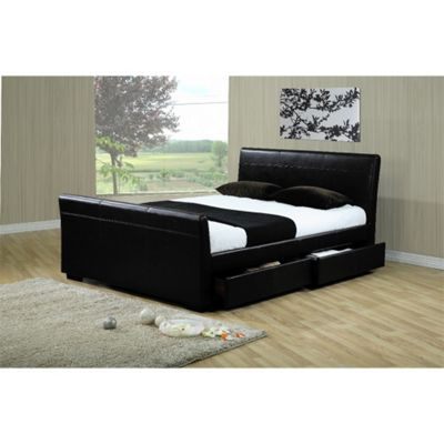 Four Drawer Sleigh Style Black Faux Leather Bed Frame - King Size 5ft