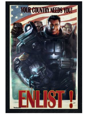 Fallout 4 Black Wooden Framed Enlist Poster 61x91.5cm