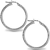 Jewelco London Sterling Silver Polished Hoop Earrings - 2mm