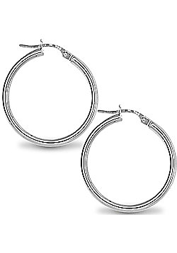 Jewelco London Sterling Silver Polished Hoop Earrings - 2mm