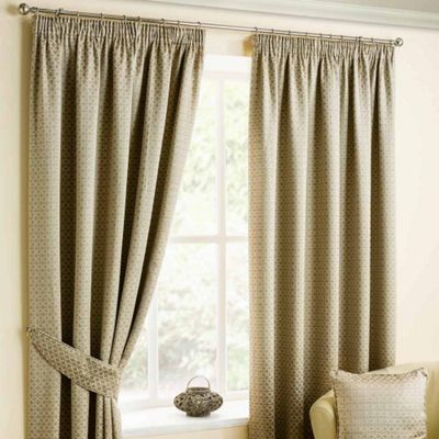 Homescapes Natural Colour Pencil Pleat Curtains with Bronze Diamond Detailing 66x54