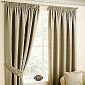 Homescapes Natural Colour Pencil Pleat Curtains with Bronze Diamond Detailing 66x54""