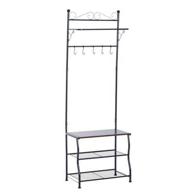 Homcom Entryway Multipurpose Metal Cloth Stand 3 Tier Shoe Rack w/ 5 Hooks - Black