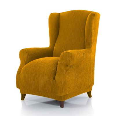 Homescapes Winged Seat 'Iris' Armchair Cover Elasticated Slipcover Protector, Gold