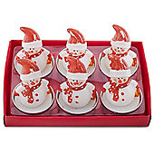 Set of 6 Red Hat Snowmen Christmas Tea Light Candles