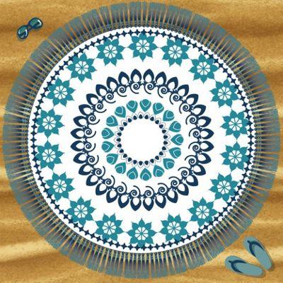 Country Club Microfibre Jumbo Square Shape Beach Towel, Blue