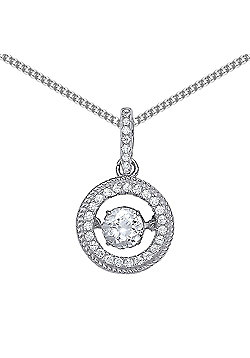 Rhodium Plated Sterling Silver Round Brilliant Cubic Zirconia Floating Halo Pendant Necklace 18 inch