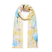 Yellow and Blue Floral Print Scarf