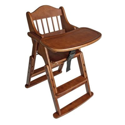 Safetots Folding Wooden High Chair Dark Wood