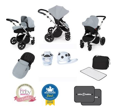 Ickle Bubba Stomp V3 AIO Isofix Travel System/Lights/Car Seat Pack Silver (Silver Chassis)