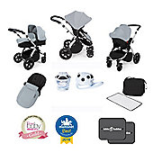 Ickle Bubba Stomp V3 AIO Isofix Travel System with Car Seat Pack Silver (Silver Chassis)