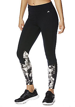 F&F Active Abstract Print Ankle Grazer Leggings - Black