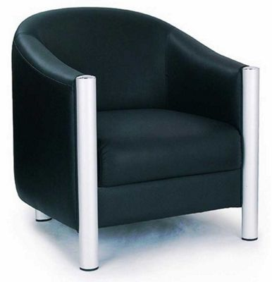 Ultimum Black Leather Faced Tub Style Chair