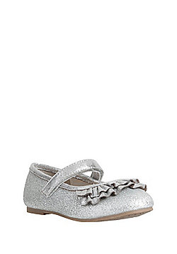 F&F Glitter Ruffle Trim Mary Jane Pumps - Silver