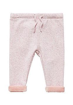 F&F Faux Fur Lined Rib Knit Joggers - Pink