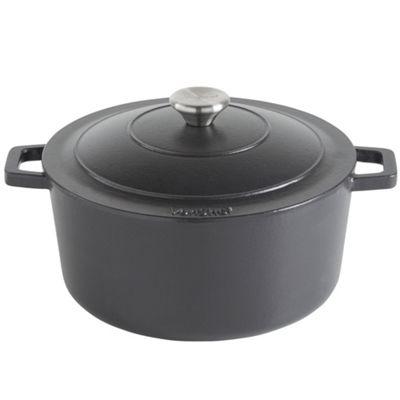 VonShef 4.5L Black Cast Iron Casserole Dish