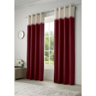 Alan Symonds Lined Toronto Red Eyelet Curtains - 46x54 Inches (117x137cm)