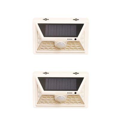 Set of 2 450 Lumens Solar Security PIR Light in White (34 LEDs)