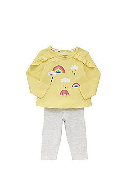 F&F Rainbow Print Long Sleeve T-Shirt and Leggings Set - Yellow & Grey