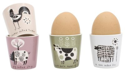 Jane Ormes Scandinavian Animals Egg Cups, Set of 4