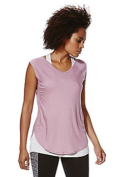 F&F Active 2 in 1 Vest and T-Shirt - Lilac & Grey