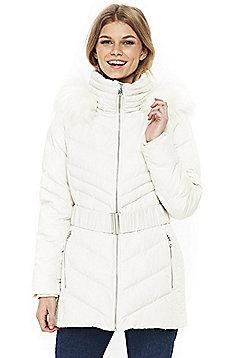Wallis Petite Padded Short Coat - White