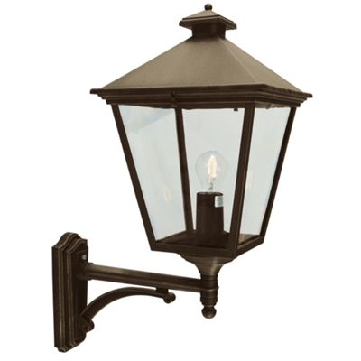 Black/Gold Up Wall Lantern - 1 x 100W E27
