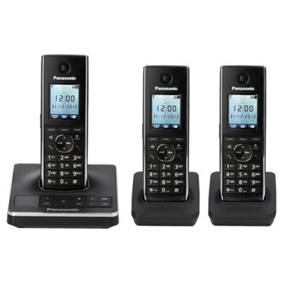 Panasonic KX-TG8563EB Triple Cordless Phone - Black