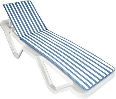 Sun Lounger Cushion - Blue / White - Fits most Loungers Inc Resol Master/Marina