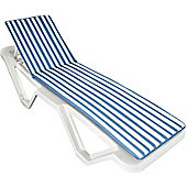 Sun Lounger Cushion - Blue / White - Fits most Loungers Inc Resol Master/Marina