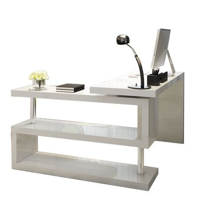 Siena White High Gloss Rotating Office Desk