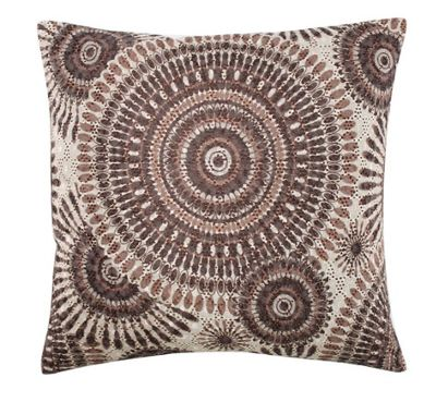 Designer Beige Cushion Brown Retro Circles