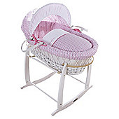 Pink Barley Print Moses Basket, White Wicker