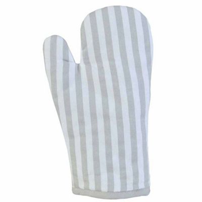 Homescapes Cotton Thin Stripe Grey White Oven Glove