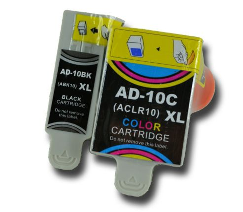 1 Set of Advent 10 XL (ABK10+ACLR10) Compatible Ink Cartridges for A10 AW10 & AWP10