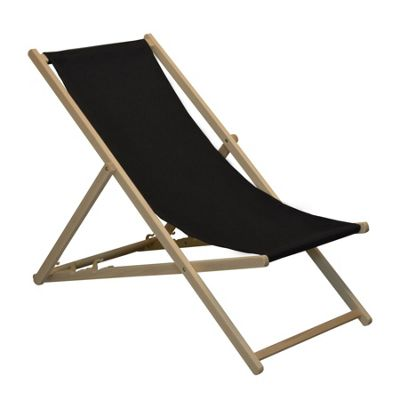 Traditional Adjustable Garden / Beach-style Deck Chair - Black