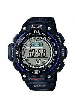 Casio Men's Quartz Watch with Grey Dial Digital Display and Black