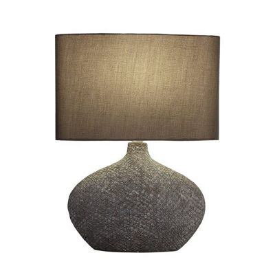 FAIRVIEW TABLE LAMP - CERAMIC BROWN MATT BASE WITH BROWN OVAL DRUM SHADE