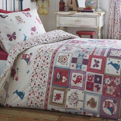 Animals Patchwork Double Duvet - Birds, Butterflies, Floral, Owls