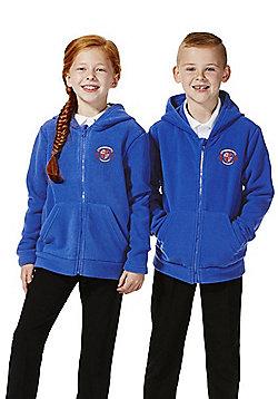 Unisex Embroidered School Zip-Through Fleece with Hood - Blue