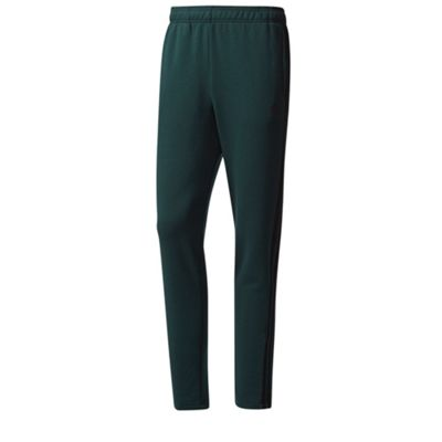 adidas Essential 3 Stripe Mens Tapered Tracksuit Pant Trouser Green - S