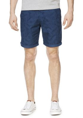 F&F Palm Leaf Print Chino Shorts Navy 48 Waist
