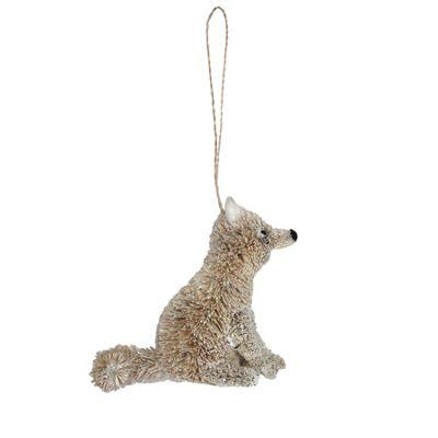 White Bristle Fox Decoration - Sitting