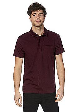 F&F Signature Geometric Print Polo Shirt - Wine