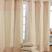 Homescapes Cotton Stars Beige Ready Made Eyelet Curtain Pair, 117 x 137 cm Drop