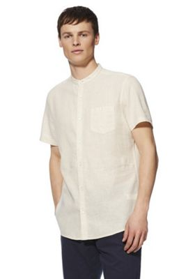 F&F Linen-Blend Grandad Collar Shirt Stone 4XL