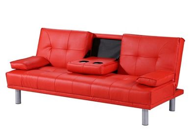 Manhattan Red Faux Leather 3 Seater Small Sofa Bed