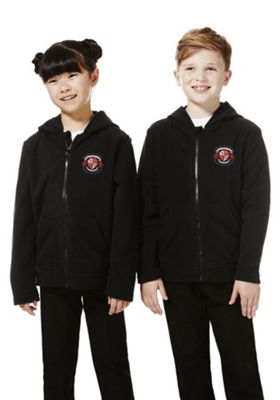 Unisex Embroidered School Zip-Through Fleece with Hood 3-4 years Black
