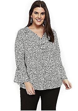 Evans Smudge Spot Frill Front Plus Size Shirt - White
